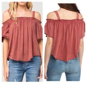 FREE PEOPLE NEW Cold Shoulder Distressed T…
